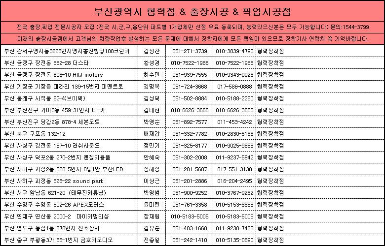부산광역시 제일카넷 자동차용품 장착점, 출장시공, 픽업시공, 출장세차, 출장썬팅