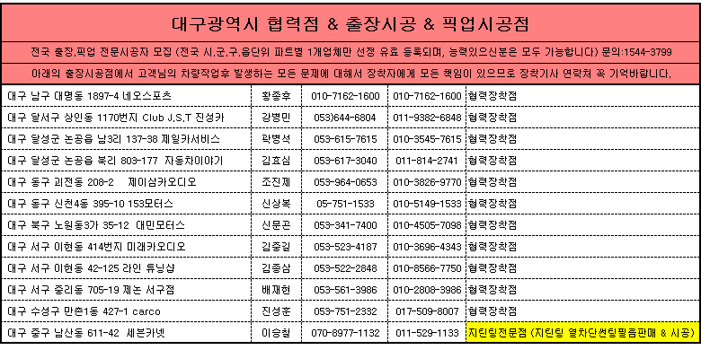 대구광역시 제일카넷 자동차용품 장착점, 출장시공, 픽업시공, 출장세차, 출장썬팅