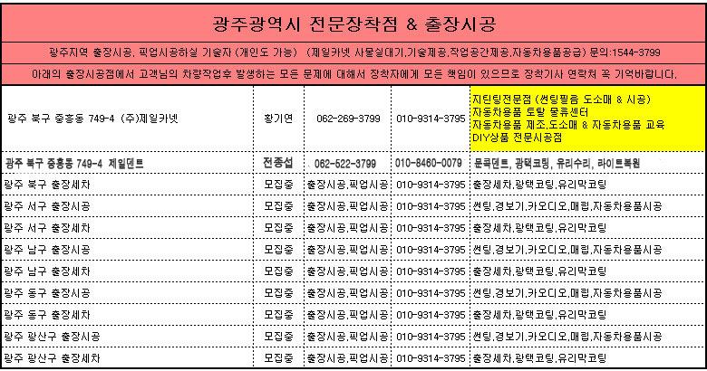 광주광역시 제일카넷 자동차용품 장착점, 출장시공, 픽업시공, 출장세차, 출장썬팅