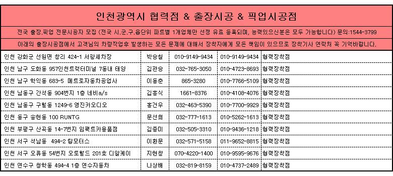 인천광역시 제일카넷 자동차용품 장착점, 출장시공, 픽업시공, 출장세차, 출장썬팅