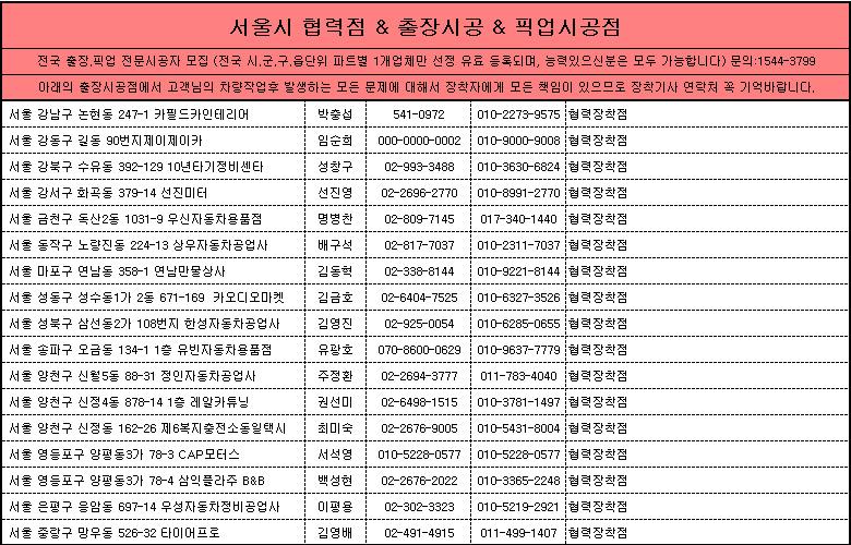 서울시 제일카넷 자동차용품 장착점, 출장시공, 픽업시공, 출장세차, 출장썬팅